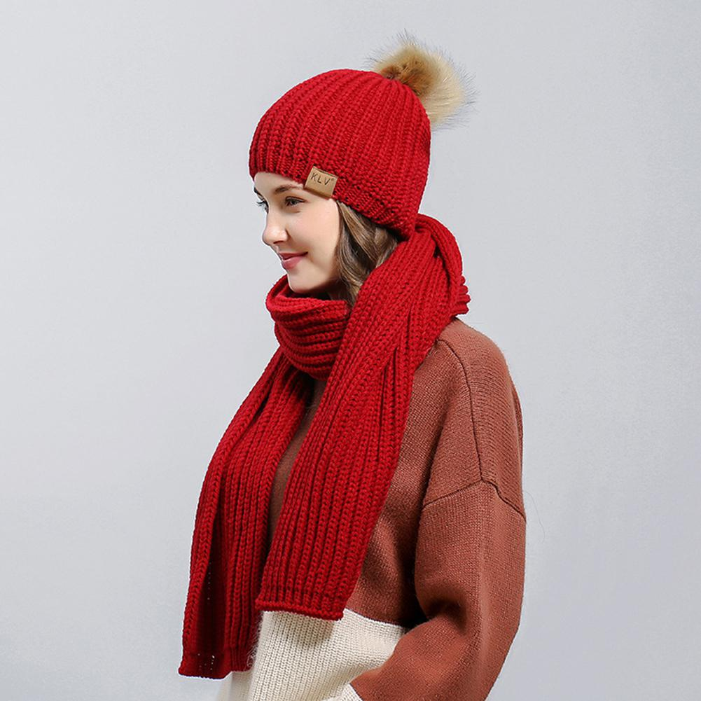 Studyset 2PCS/Set Women High Quality Hat Woolen Knitted Cap And Scarf Suit Lady Knitted Hat Muffler Set 13cm