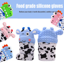 Cute Animal Teething Glove Sucking Fingers Thumb Sound Silicone Baby Nursing Teether Newborn Dental Care Durable(China)