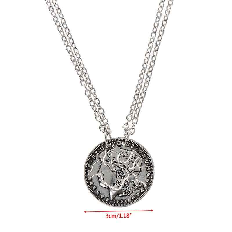 Deer Heads Lover Puzzle Necklace Set Quarter Coin Cut BBF Couple Fashion Jewelry