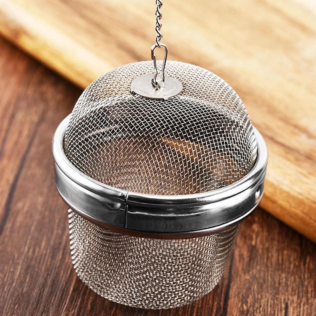 Stainless Steel Teko Mengunci Filter Teh Bumbu Bola Mesh Herbal Ball Saringan Teh Rempah-rempah Extended Chain Hook