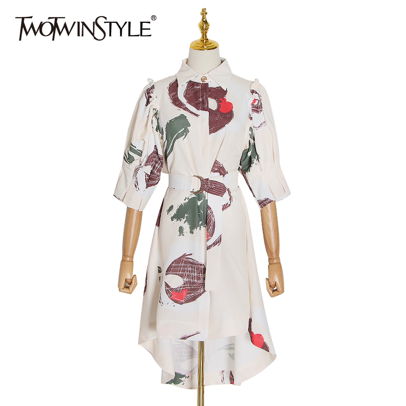 TWOTWINSTYLE Casual Print Women's Dress Lapel Collar Puff Short Sleeve High Waist With Sashes Irregular Dresses Female 2020 Tide