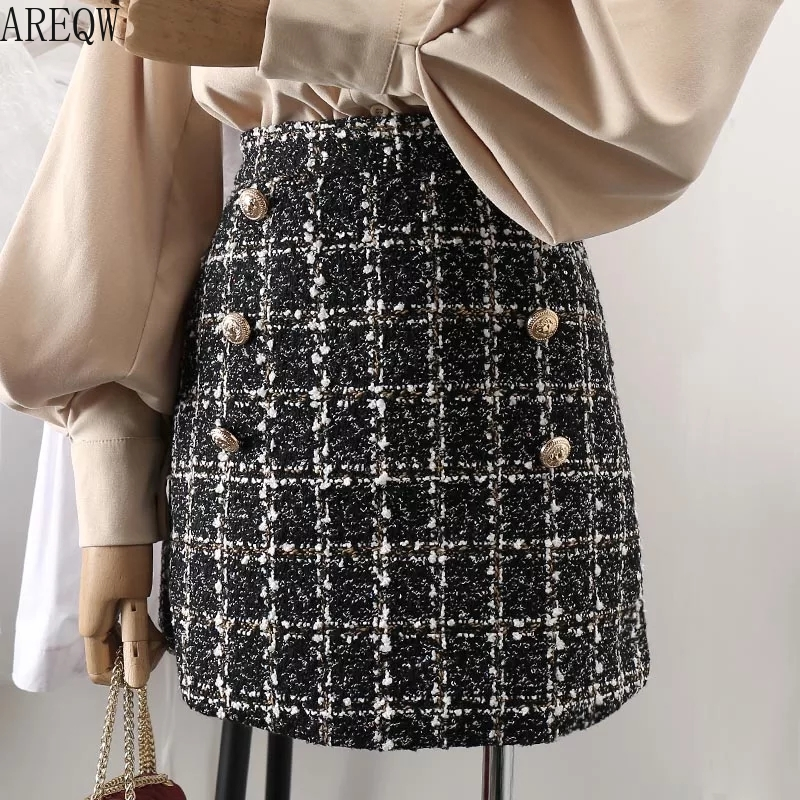 Skirt Chic Half-Length White Black Korean Autumn Women Tweed with Spring High-Waistband