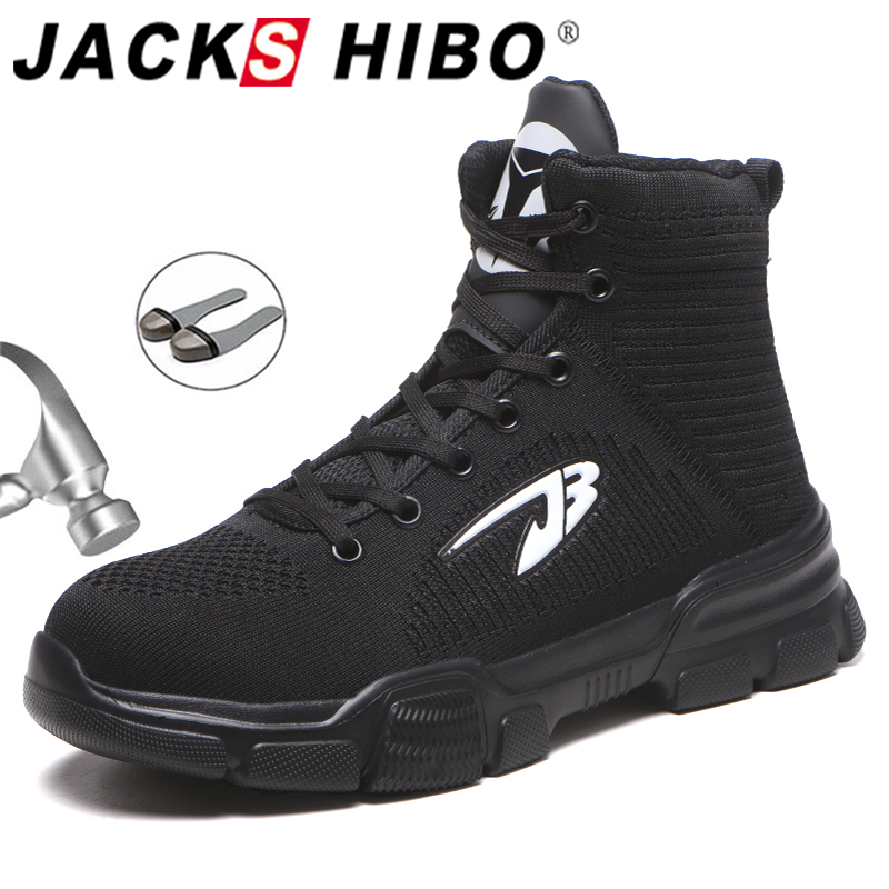 JACKSHIBO All Season Men Safety Work Boots Shoes Anti-smashing Steel Toe Cap Boots Indestructible Working Shoes Pluse Size 48