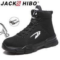 JACKSHIBO Alle Saison Männer Sicherheit Arbeit Stiefel Schuhe Anti-smashing Stahl Kappe Kappe Stiefel Unzerstörbar Arbeits Schuhe Pluse Größe 48