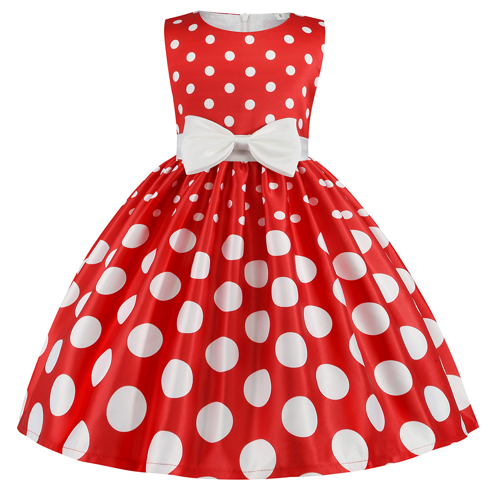 New Polka Dot Princess Dress European and American Girls' Party Bow Dress Children Theme Party Performance Costume 1