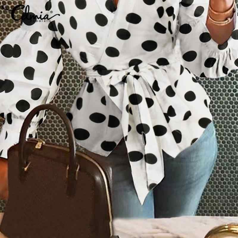 Quá Khổ Áo Thun Áo Sơ Mi Nữ Celmia Mùa Xuân Chấm Bi In Hình Áo Dài Thun OL Size + Thanh Lịch Blusas Mi