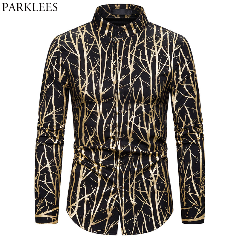 Shiny Gold Branches Bronzing Party Shirt Men 2020 Brand Banded Collar Socila Shirts Men Dress Wedding Club Prom Bar Tuxedo Shirt