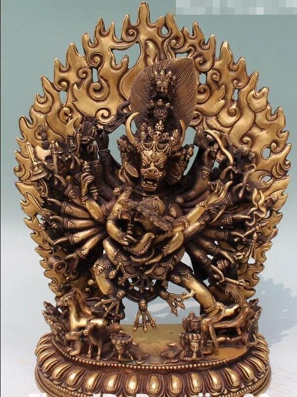 "13 ""Budismo Tibetano tibetano Buda Yamantaka ama Dharmaraja  estatua Estatuas y esculturas  - AliExpress"