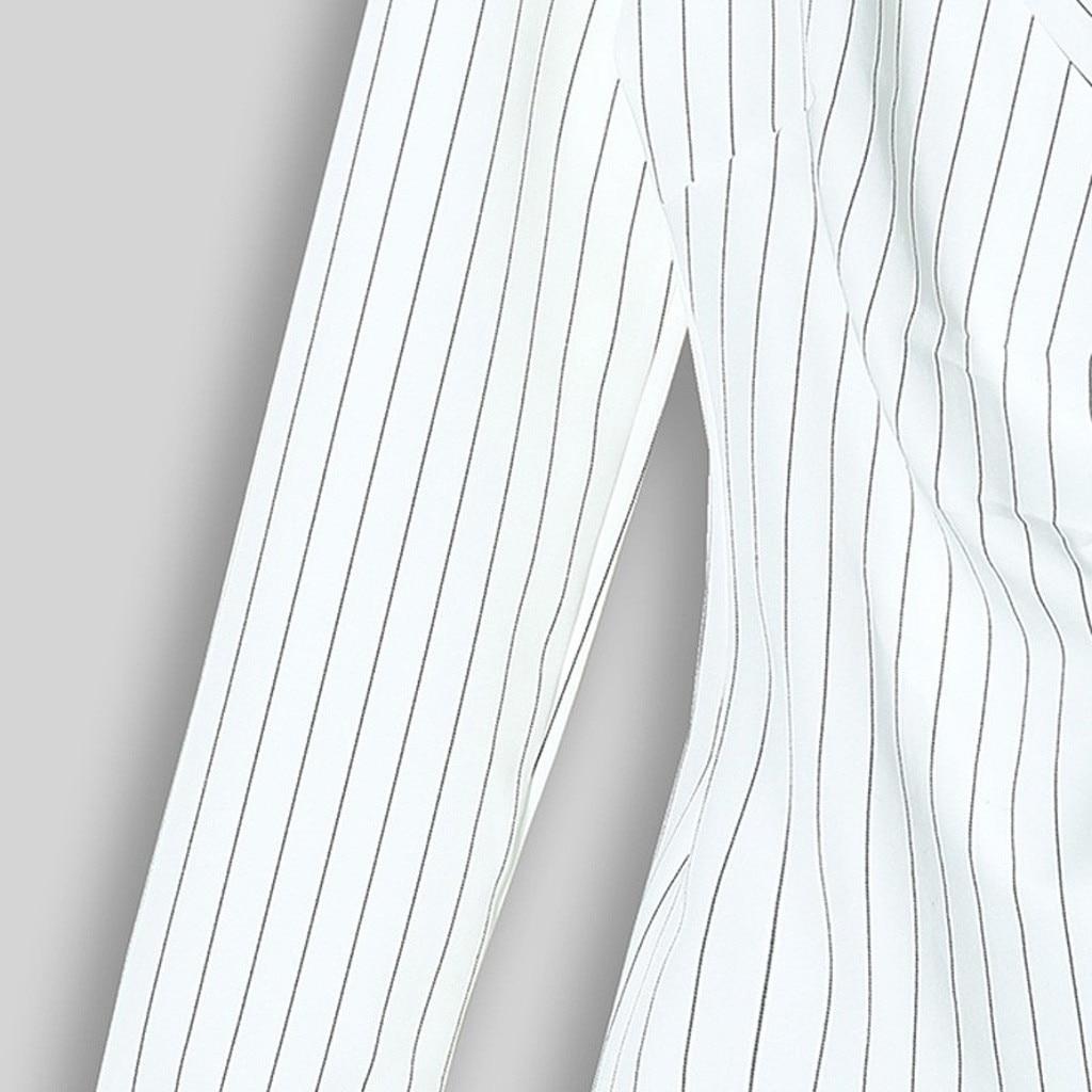H44e5c7bdf64546eb8d42eb9d5d2c8a8dL Autumn Dress Women Turn Down Neck Long Sleeve Buttons Striped Patchwork Tight Blazer Dress Vestido De Festa White Dress #D5