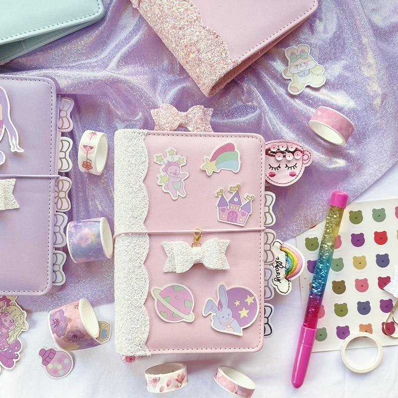 Macaron Cute Sequin Girl Diary Notebook Loose-leaf Korean Stationery Supplies A6 Creative Planner Notebook Kawaii Bullet Journal