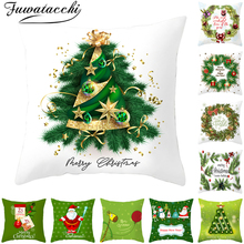 Fuwatacchi Christmas Style Pillow Cover Green Pillowcase Polyester Home Sofa Chair Decorative Pillows Tree Decorations
