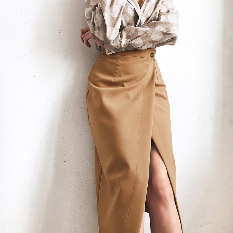 Elegant High Waist Front Split Midi Skirt 5