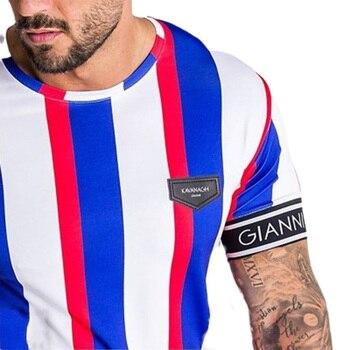 Casual Men T-shirt Stripe Summer Man Tshirt Fashion Tops Streetwear Male T-shirts Hip Hop Brand Clothing Mens Tee T Shirt Men