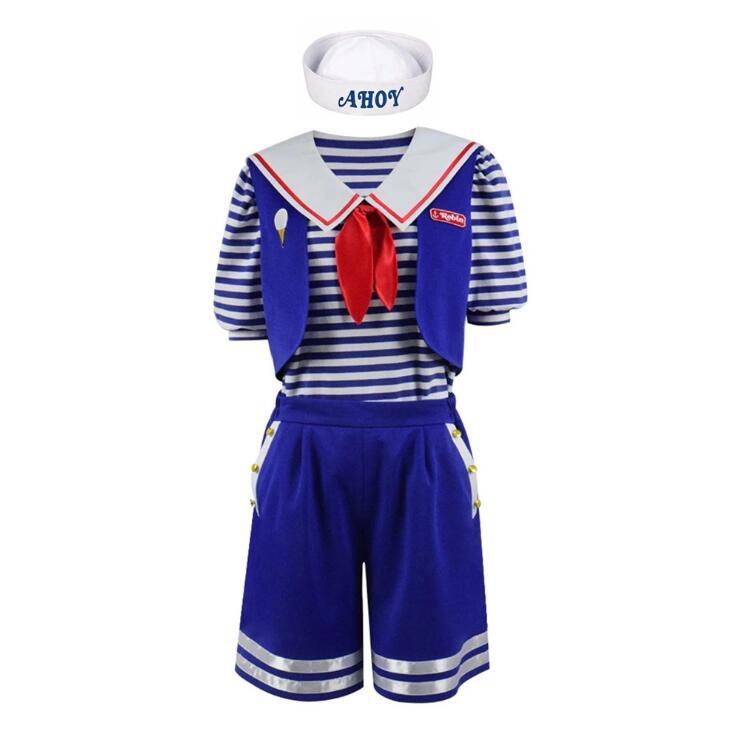 High Quality Stranger Things Season 3 Robin Steve Harrington Scoops Ahoy Ice Cream Shop Assistant Cosplay Navy Suit