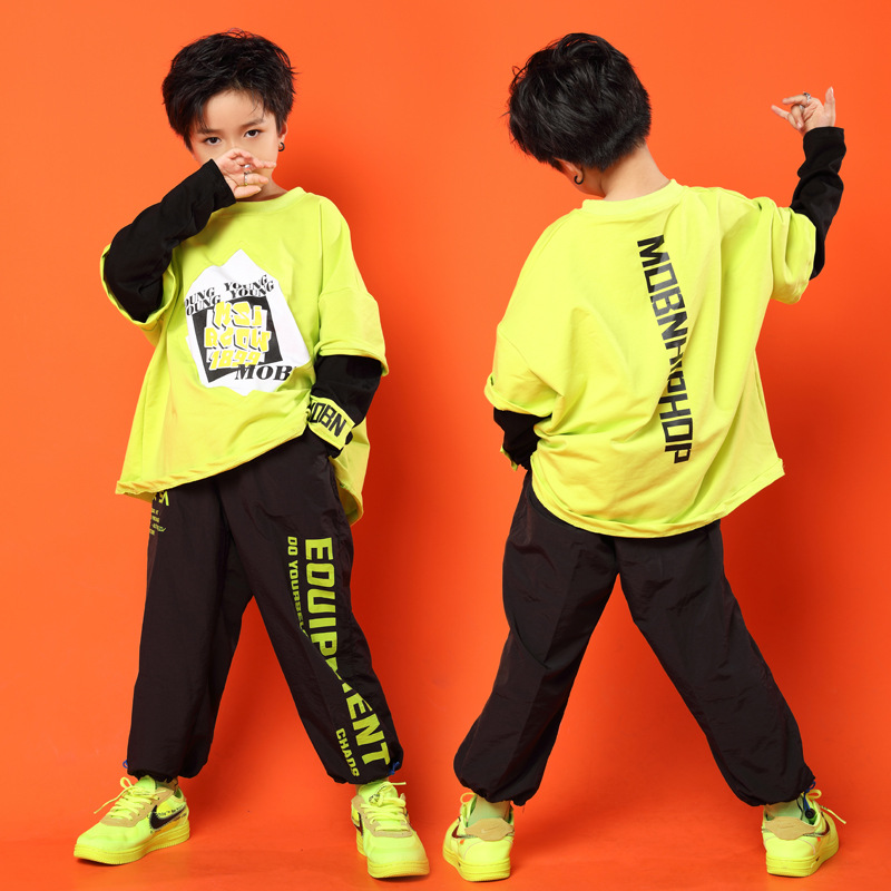 Kid Cool Yellow Print Sweatshirt Shirt Tops Black Running Casual Hip Hop Pants Clothing For Girls Boy Jazz Dance Costume Clothes