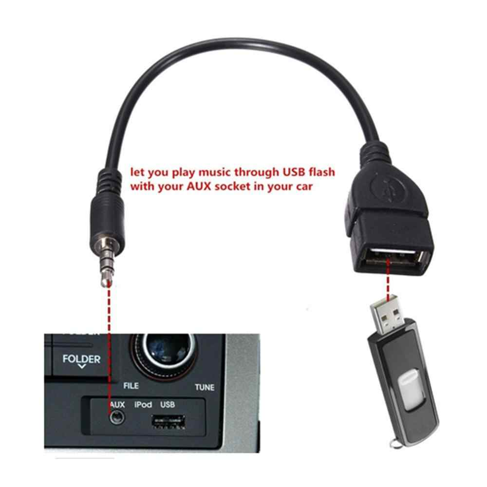 USB female to 3.5MM U disk connection car CD machine aux car audio cable Car Electronics Cables