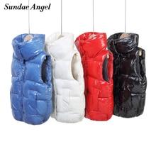 Sundae Angel Warm Vest Kids Gilet Boy Winter Stand Collar Thicken Glossy Vest For Girls Autumn Sleeveless Children Waistcoat