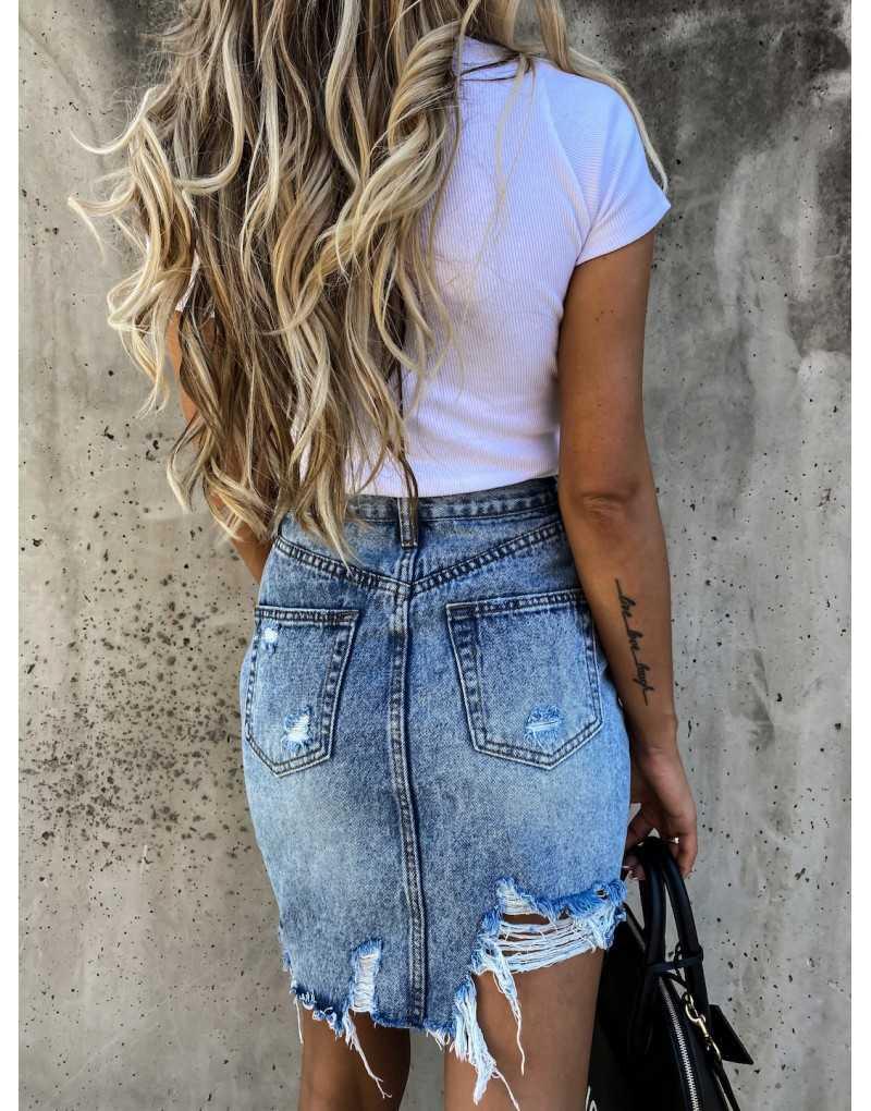 Casual High Waist Tassel fajne ołówkowe spódniczki dżinsowe damskie 2020 nowe letnie vintage Sexy kieszenie z dziurami wszystkie dopasowane spódnica jeansowa