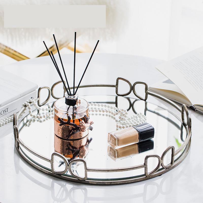 Plateau de service miroir argent   Miroir de décoration de maison, plateau de service pour gâteau de boisson, plateau de collation, assiette en métal assiette à bijoux