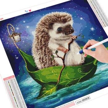 HUACAN 5D DIY Diamond Painting Full Square Hedgehog Round Diamond Art Embroidery Animal Handmade Mosaic
