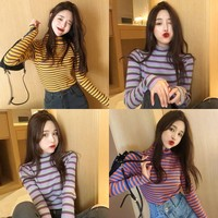 2019 Spring And Autumn New Style Korean style High Collar Rainbow Stripes T shirt Slim Fit Tops Long Sleeve Thread Base Shirt WO
