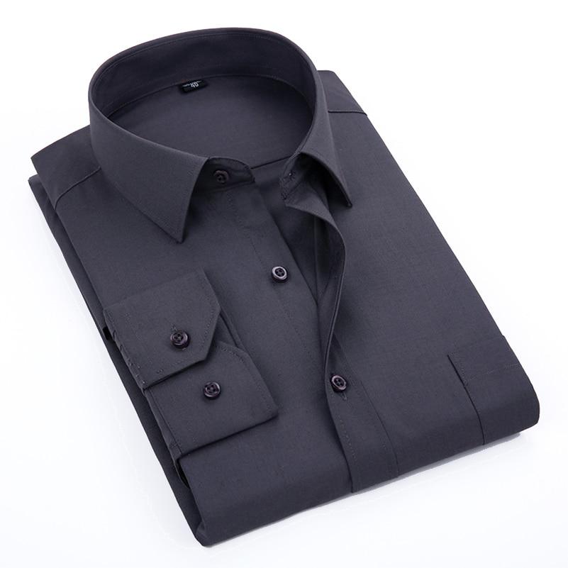 VISADA JAUNA 2019 Men's Casual Shirt Long-Sleeved Chest Pocket Camisa Masculina Slim Fit  Business Big Size Shirts For Male 4XL