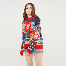 Multi Color Crew Neck Long Sleeves Snowflake Printed Christmas Sweaters Knit Sweater Women navy oversize knit crew neck sweater