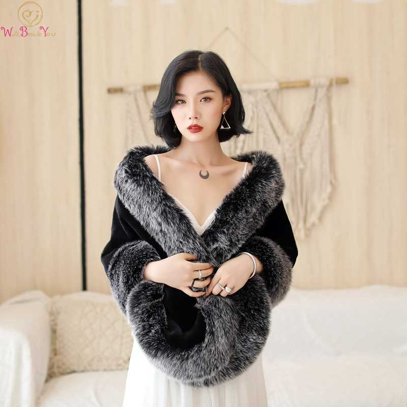 2019 New Black And Gray Boleros Women Faux Fur Stoles High Quality Fur shrug Coat Bridal Capes Winter Wedding Jacket Fur capa