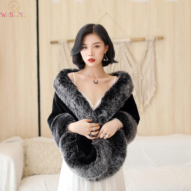 2019 New Black And Gray Boleros Women Faux Fur Stoles High Quality Fur Shrug Coat Bridal Capes Winter Wedding Jacket Fur Capa