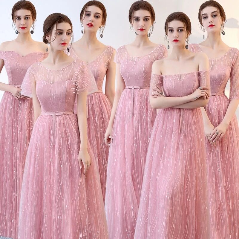 New Chiffon Pink Bridesmaid Dresses Elegant Prom Wedding Party Dress For Women Guest Blush Pink A Line Puffy Dresses Gala Gowns