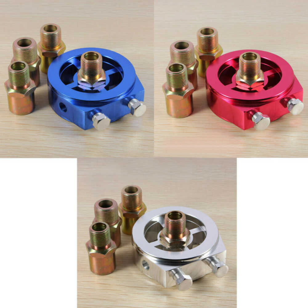 Oil Pressure Gauge Filter Sandwich Adapter Plate 1/8 Npt Temperature Sensor Between Engine And Oil Filter