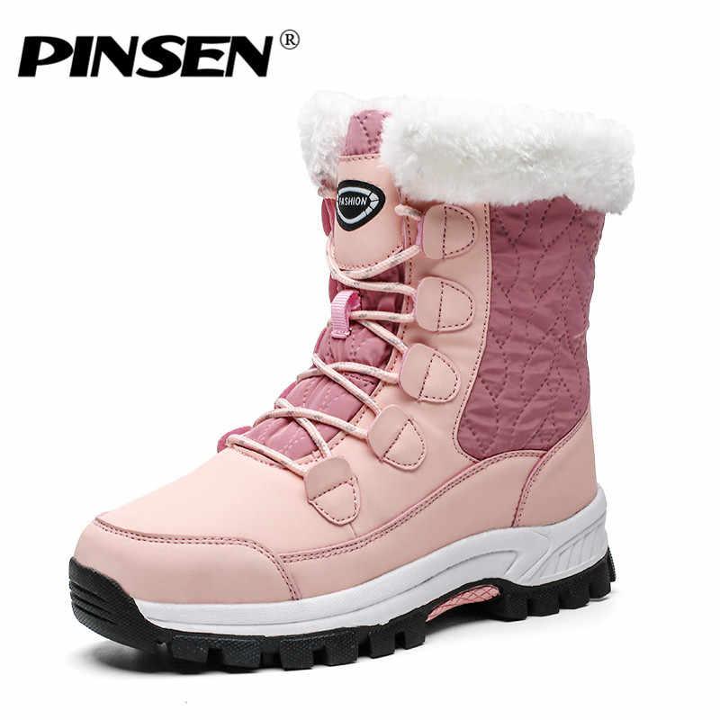 PINSEN 2019 kış kadın kar botları yüksek kaliteli sıcak itme orta buzağı çizmeler kadın platformu kadın dantel-up su geçirmez Botas Mujer