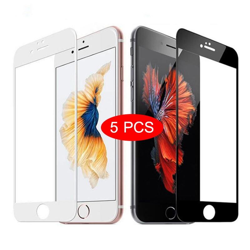 5 шт. закаленное стекло с полным покрытием для iPhone 7 8 6 6s Plus, Защита экрана для iPhone X XS MAX XR на iPhone 11 Pro Max 12 MINI