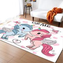Tapete do bebê rastejando tapetes do quarto das meninas do unicórnio para a sala de estar