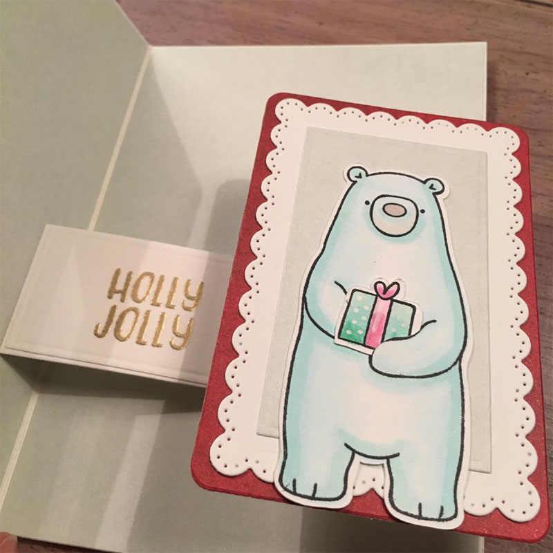 Urso abraços selos e dados definir feliz hoilday selo claro e corte dados para diy scrapbooking cartões de papel artesanato 2019 novo