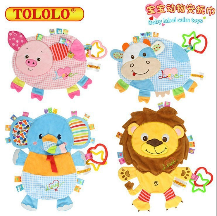 Tololo Cartoon Animal Infant Pajama Plush Toys Newborn Appeasing Towel Cloth Hand Puppet-Bite