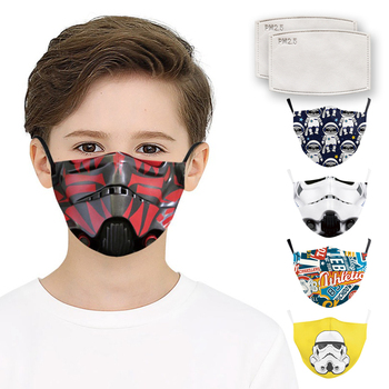 Kids Mouth Face Mask Fashion 3D Star Wars Print Masks Fabric Reusable Washable Masks Mouth-Muffle PM 2.5 FilterPaper Dust Mask