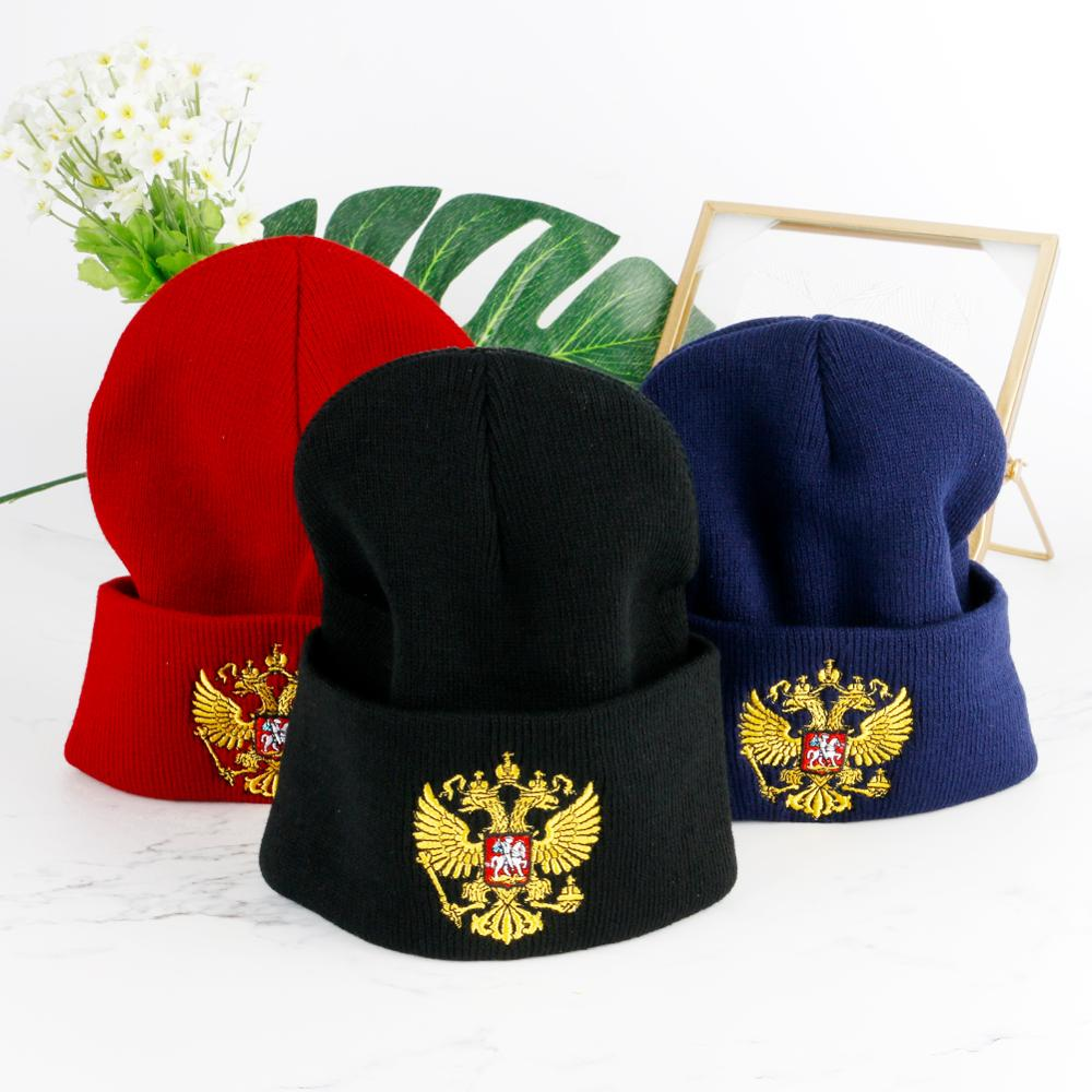 Men's Winter Cool Hat Russia Emblem Bonnet Pompom Women Beanies Caps Autumn Warm Thin Children Knit Skullies Outdoor Sports