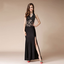 Sexy Black Lace Evening Dresses Long Beaded Formal Dress Women Elegant Mermaid Dresses Backless High Split Prom Party Dress Gown недорого