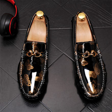 Floral Printed Genuine Leather Men Shoes Soft Moccasins Loafers Fashion Brand Flats Comfy Driving 7#22D50