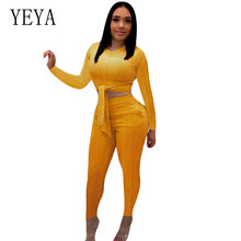 купить YEYA 2 Piece Set Autumn Women Knit Sexy Club Crop Top and Pants Sweat Suit Two Piece Winter Outfits Matching Sets Big Size S-3XL по цене 1244.66 рублей
