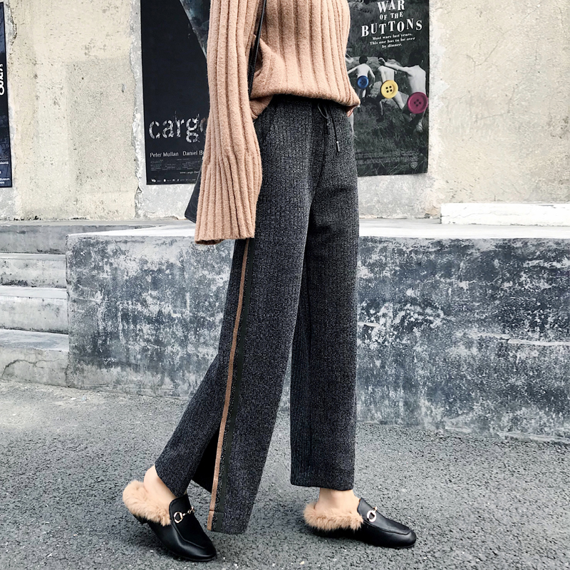 Women Knitting   Pant   2019 Autumn Winter New Fashion Casual Trousers Pleated   Pant   Loose Elastic Waist Knitted   Wide     Leg     Pants