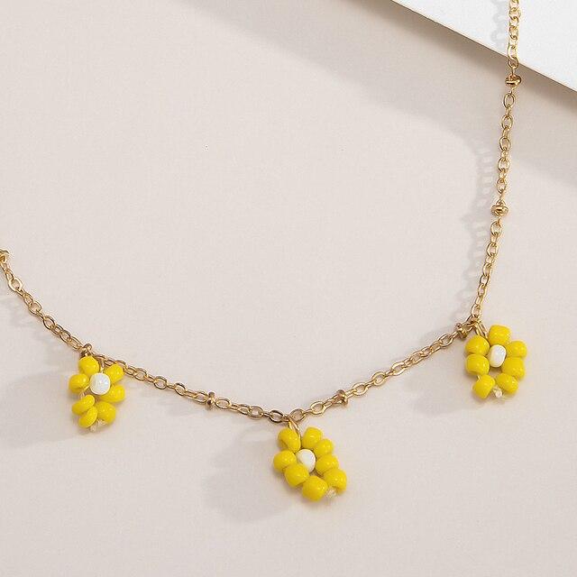 Floral Handmade Green Yellow Beaded Bracelet Free Shipping Bracelet