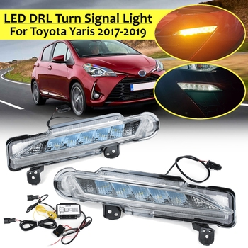 Led Drl for Toyota Yaris 2017 2018 2019 Car Daytime Running Light With Wire 2Function Daylight And Turn Signal Light Accessories