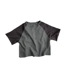 цена на Korean children's short-sleeved T-shirt 2020 summer new knitted contrast color raglan sleeves shirt boys and girls round neck