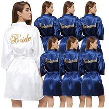 navy blue robe gold writing kimono bridal party robe bridesm