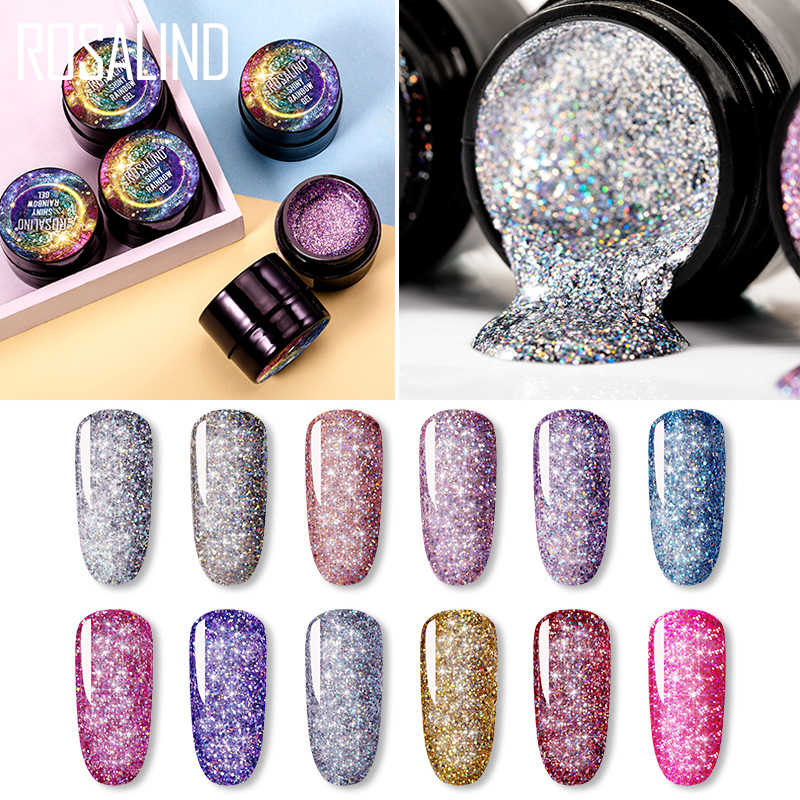 Rosalind Uv Nail Gel Polish Neon Rainbow Hybrid Vernis Platina 5 Ml Gel Verf Set Voor Manicure Semi Permanente Base top Gel Lak