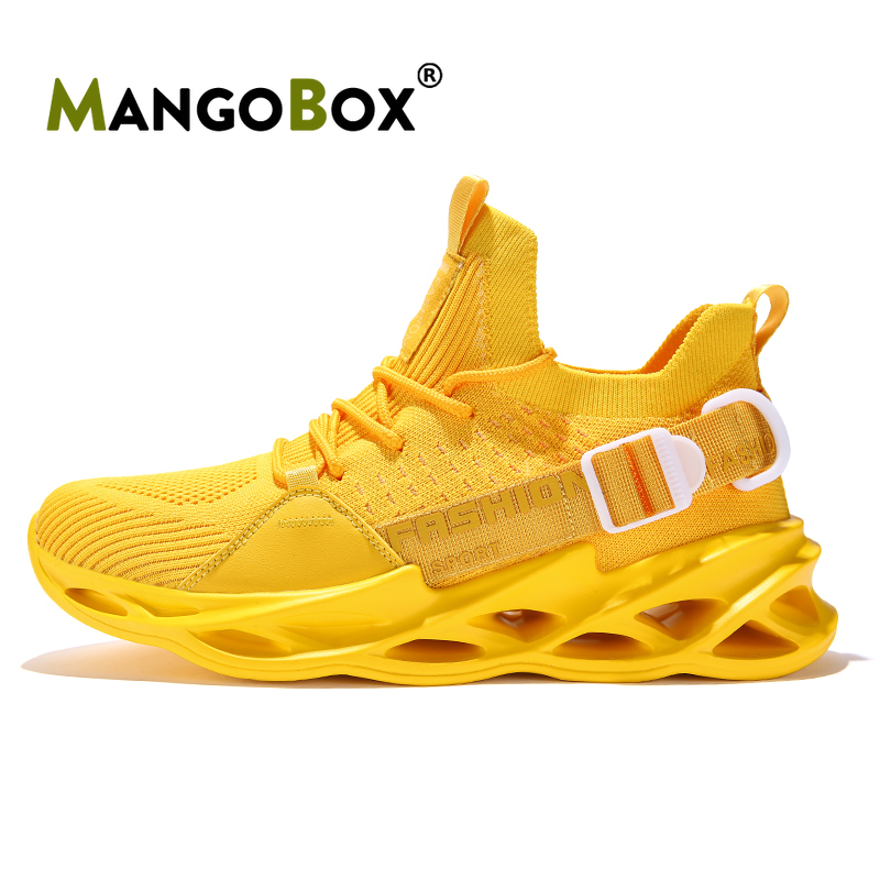 2020 New Arrival Athletic Sneakers Man Designer Running Shoes For Boys Non-Slip Men Gym Outdoor Shoes Yellow Mens Sports Shoes