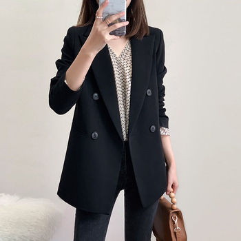 PEONFLY Fashion Women Black Blazer Long Sleeve Pocket Double Breasted Office Ladies Business Coat Female Retro Tops 2020 Autumn 1