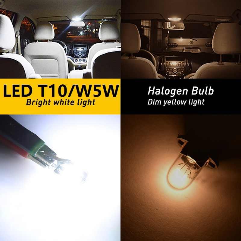 10x 오류 무료 T10 LED W5W 2825 인테리어 전구 VW Passat B5 B6 B7 Touareg Jetta Touran Bora Tiguan 캐디 CC GTI MK7